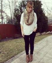 fur scarf and simple outfit