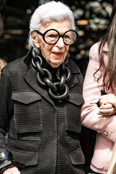 Iris Apfel at NYFW, Celebrity Street Style