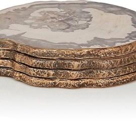 KIM SEYBERT Petrified Wood Coaster Set