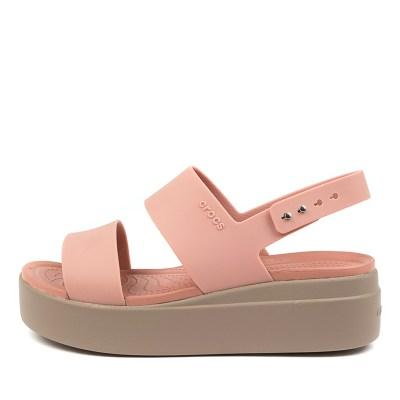 Crocs 206453 Brooklyn Low Wedge Cc Pale Blush Mushroom Sandals Womens Shoes Casual Sandals Flat Sandals