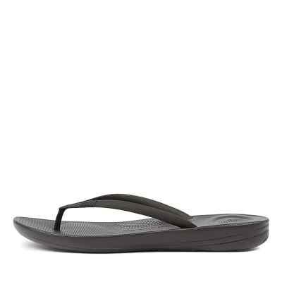 Fitflop Iqushion Ergonomic Flip Flops Black Sandals