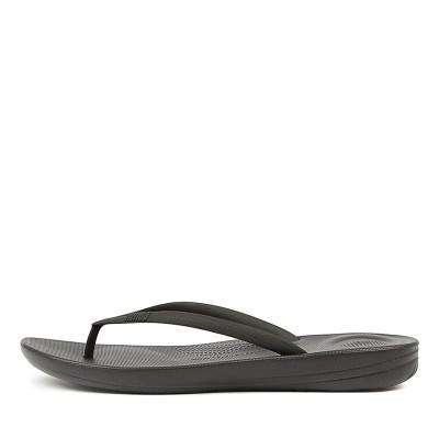 Fitflop Iqushion Ergonomic Flip Flops Black Sandals Womens Shoes Comfort Sandals Flat Sandals