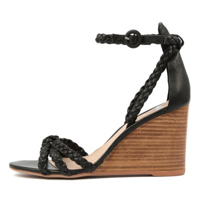 Mollini Emry Black Natural Heel Sandals
