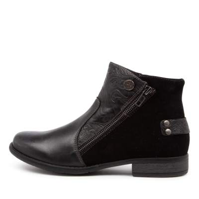 Planet Ryde Pl Black Boots Womens Shoes Comfort Ankle Boots