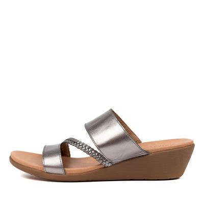 Portland Jorja Pp Pewter Sandals Womens Shoes Comfort Sandals Flat Sandals