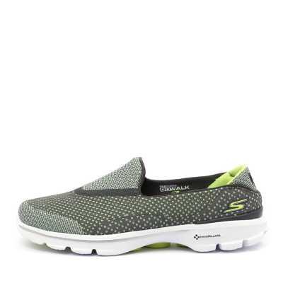 Skechers 14060 Go Walk 3 Go Knit Grey Lime Sneakers