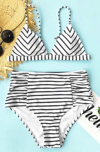 Cupshe Dare the Sea Stripe Bikini Set