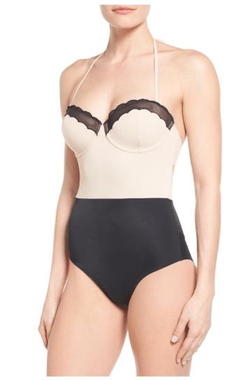 Top Shop Scallop One-Piece Swimsuit