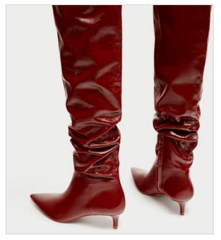Zara Red Slouch Gathered Leather Over the Knee Heel Boots