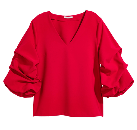 H&M-Red-Draped-Sleeves-Top