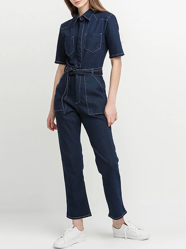 Stylewe Solid Jumpsuits For Work Casual Shirt Collar Half ...