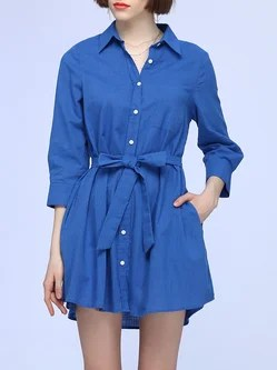 Solid A-line Casual Shirt Collar Shirt Dress