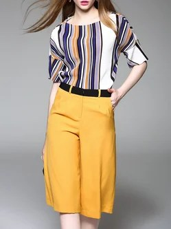 Yellow Printed Two Piece Stripes Half Sleeve Jumpsuit