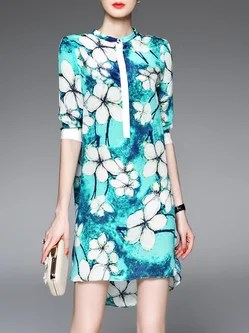 Crew Neck Vintage Style Floral Print Silk Shirt Dress