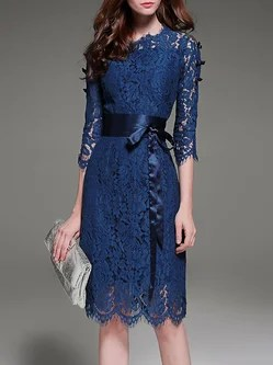 Royal Blue Elegant A-line Lace Crew Neck Midi Dress With Belt