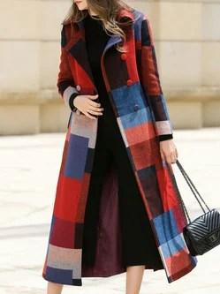 Plus Size Black Stripes Buttoned Lapel Long Sleeve Pea Coat With Belt