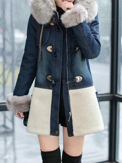 Long Sleeve Hoodie Color-block Casual Parka