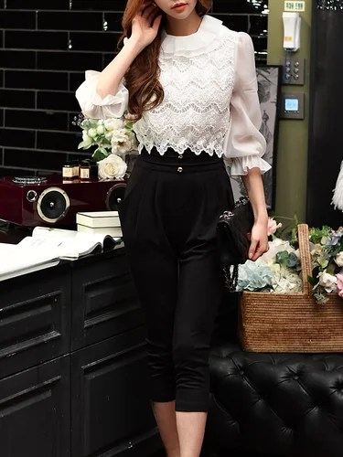 Balloon Sleeve Ruffled Girly Guipure Lace Jumpsuit