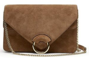 banana republic revamps brand - brown italian suede accordion bag-$168