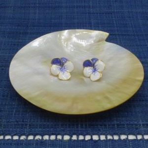 Enamel White and Blue Pansy Earrings