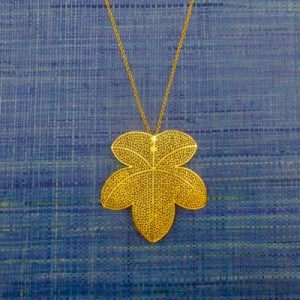 Gold Filigree Grape Leaf Pendant