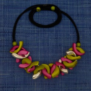 Hot Pink and Celadon Pink Tagua Necklace