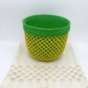 Two-in-One Green Straw Basket
