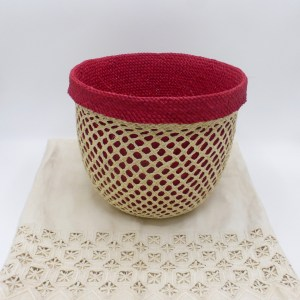 Two-in-One Red Straw Basket