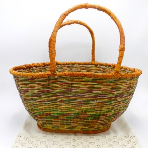 Multi-Color Straw Picnic Basket