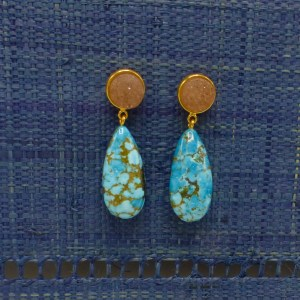Turquoise Drop Earrings with Druzy Stone