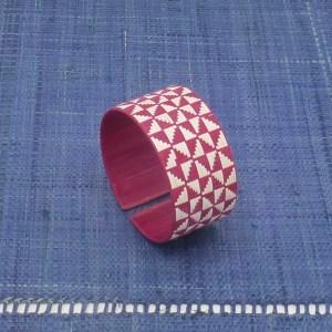 Woven Fiber Cuff (Red and White)