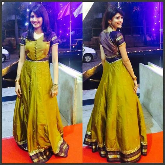 Long frock designs from old saree