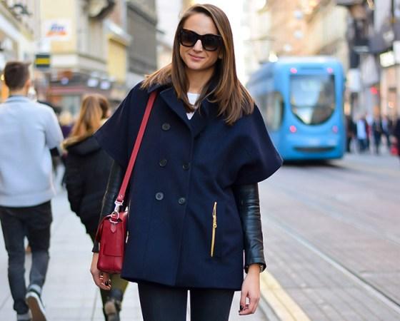 StyleZagreb.com, street style look Iva Marija Ramljak, moda jesen, kratki navy kaput