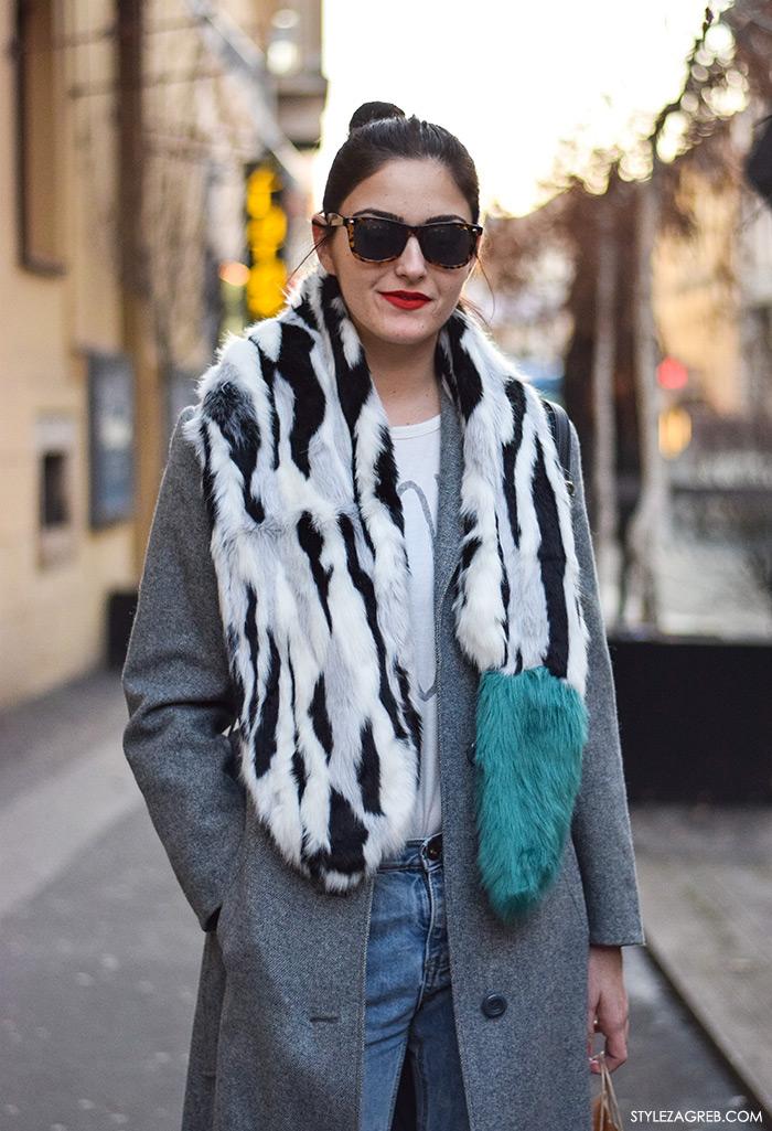 Moda: što se nosi prvih siječanjskih dana u Zagrebu, street style; modna dizajnerica Nela Kliček, Neha Neha Clothing; Asos krzneni dvobojni šal, sivi kaput, čizme do gležnja s resama, traperice visokog struka