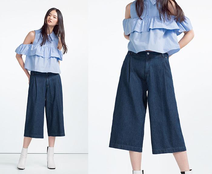 Kako nositi košulje s volanima MODA - IDEJE ZA STAJLING: Zara svijetlo plava košulja s volanima, kako nositi, ideje za dnevni stajling uz culottes suknja hlače od trapera