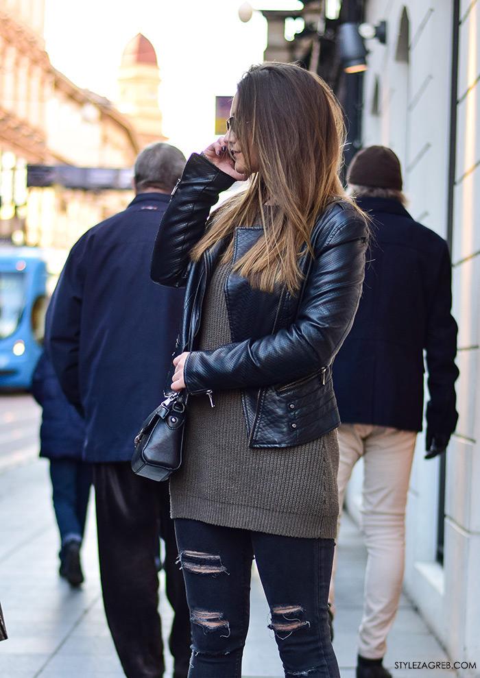 Street style moda Zagreb veljača 2016. Mihaela Prka, studentica. Ideje za svakodnevni stajling MODA: Kako kombinirati bajkersku jaknu, poderane traperice i metalizirane sunčane naočale.