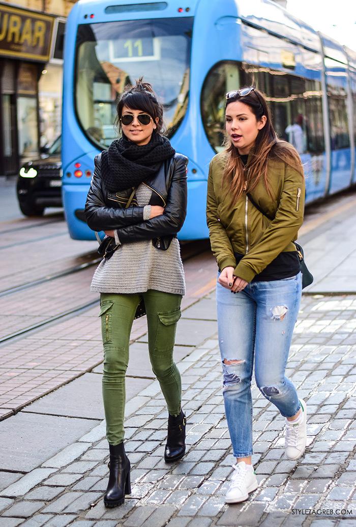 Zagreb street style, proljetna moda, crna bajkerska jakna i milirati zelene hlače, bomber jakna i poderane traperice, stylezagreb,