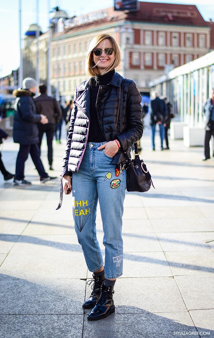 Subotnja špica ulična moda izvezeni traper šljokice i štepana bajkerska jakna kako kombinirati street style Zagreb Maja Bučar, fizioterapeutkinja