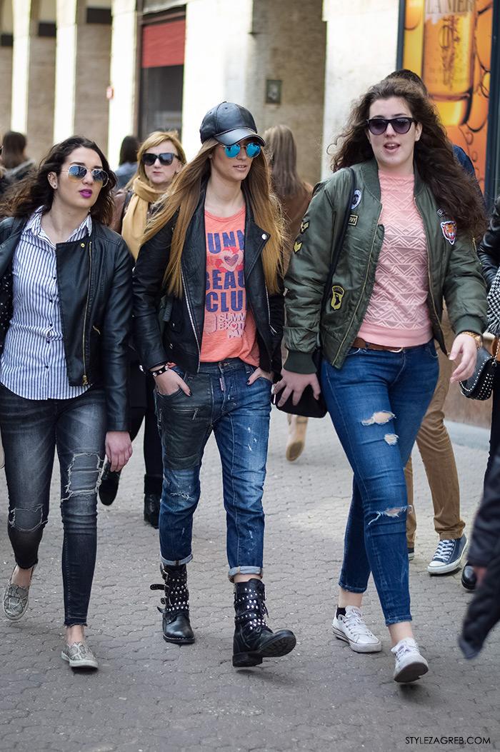 Mia Škaljac, Leona Gajo, Nikolina Ivanković Instagram, cure u bajkerskim i bomber jaknama, žena proljetna moda fashion hr zagrebačka špica, street style Zagreb