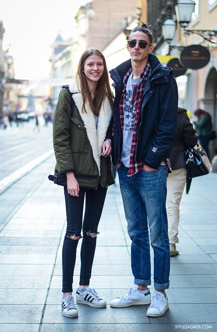 Manekenka Sara Sorić i Fran Matijević, srednjoškolci, street style Zagreb, žena moda fashion hr zagrebačka špica modne kombinacije