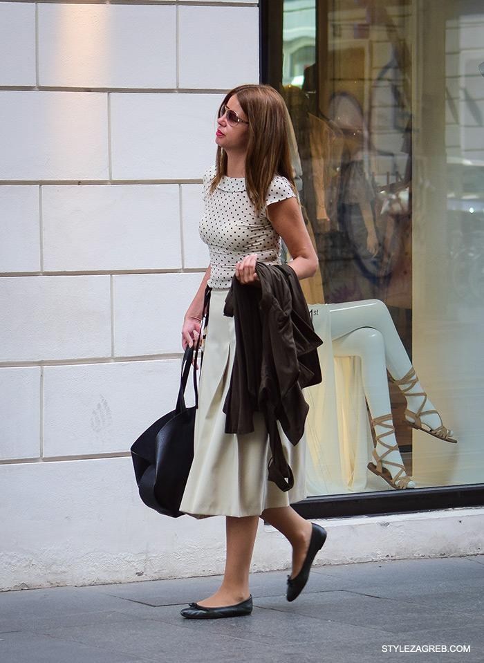 Midi suknja Zara trgovina, kako nositi, ulična moda Zagreb street style Zagreb