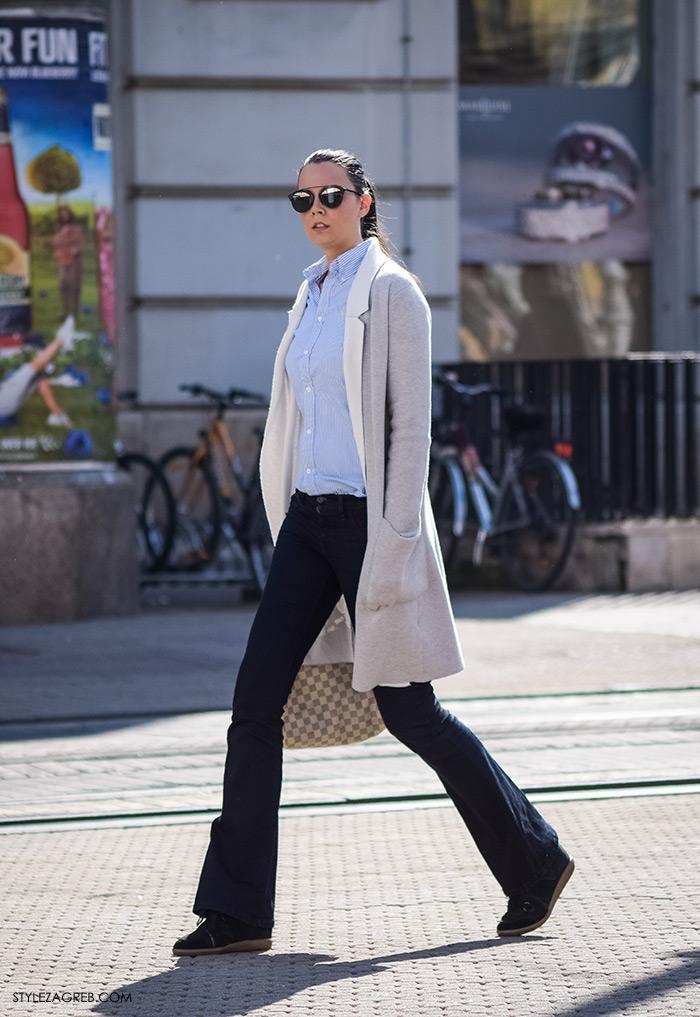Klasična prugasta košulja s trapezicama i tenisicama s višom petom. Poslovna odjeća ulična moda Style Zagreb, gloria časopis za žene, život i zdravlje, poslovna žena, zadovoljna žena