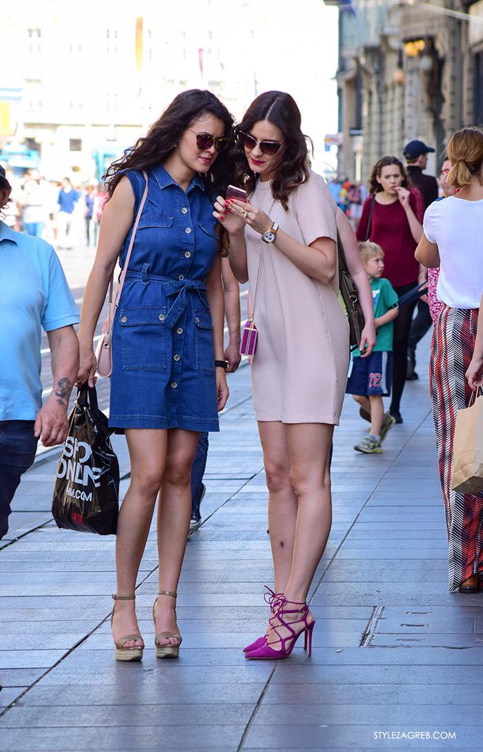 street style Zagreb Cest is d'Best program, ulična moda zagrebačka špica subota proljetna ženska moda mini haljine, off shoulder gola ramena top
