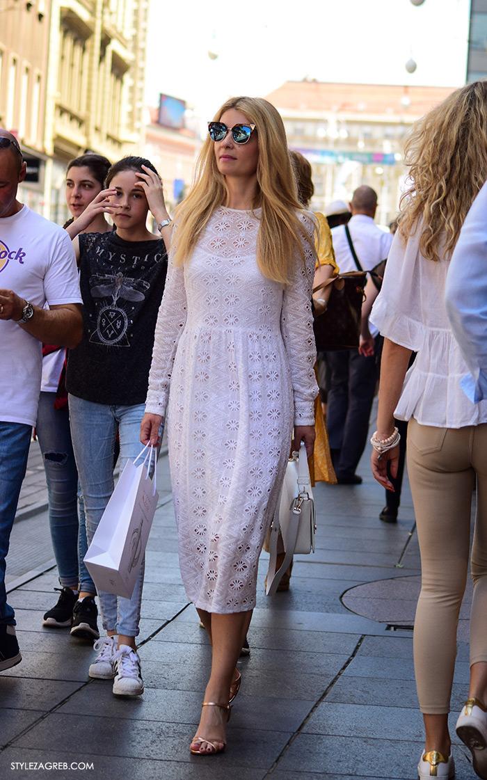 Ana Olivari Pavličić odvjetnica, Instagram @anaolivari street style Zagreb, ulična ženska moda lipanj 2016 bijela čipka midi haljina i metalik plave naočale stylish žena na Ilici