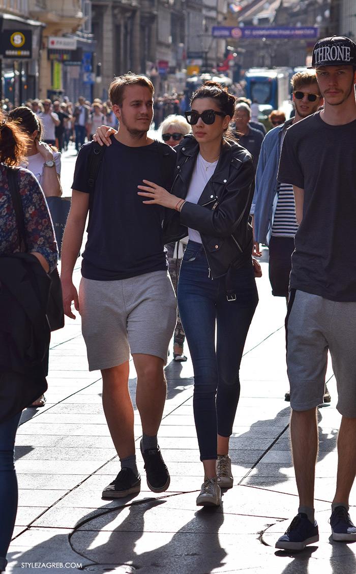 Street style Zagreb Hrvatska, ulična moda Zagreb, prosvjed Hrvatska može bolje 1.6.2016., ženska moda: crna bajkerska jakna i traperice visokog struka