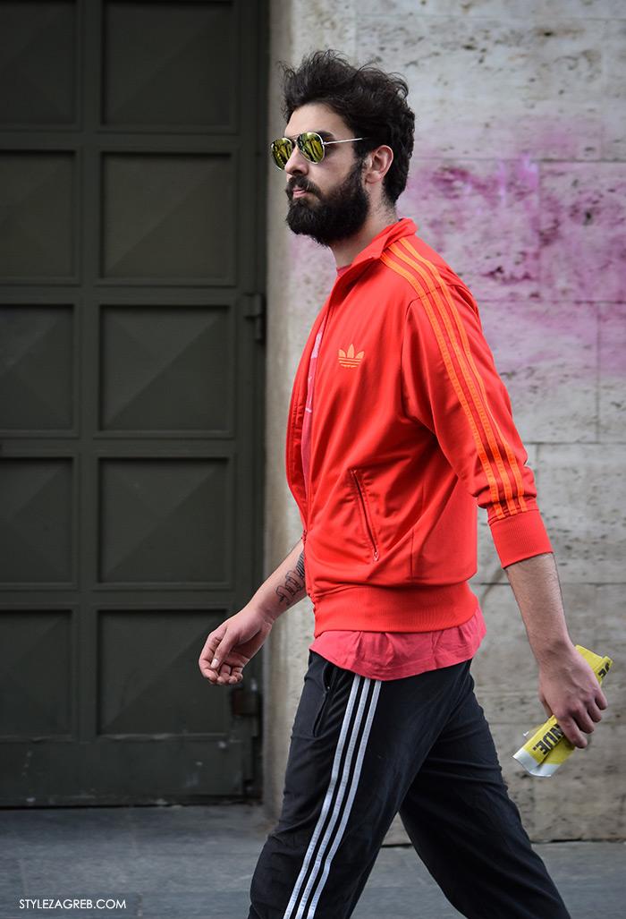 Street style Zagreb Hrvatska, ulična moda Zagreb, prosvjed Hrvatska može bolje 1.6.2016., muška moda koralj crvena adidas jakna i metalizirane naočale