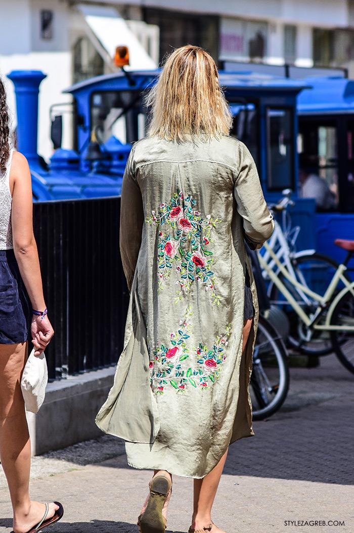 Ljeto ženska moda zagrebačka špica, street style Zagreb, duga košulja izvezenih leđa
