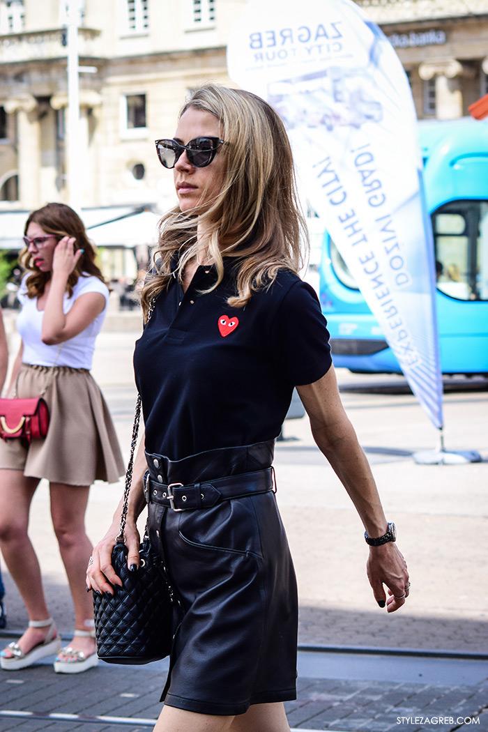 Ljeto ženska moda zagrebačka špica, street style Zagreb, kako nositi crnu kožnu minicu, elegantan look