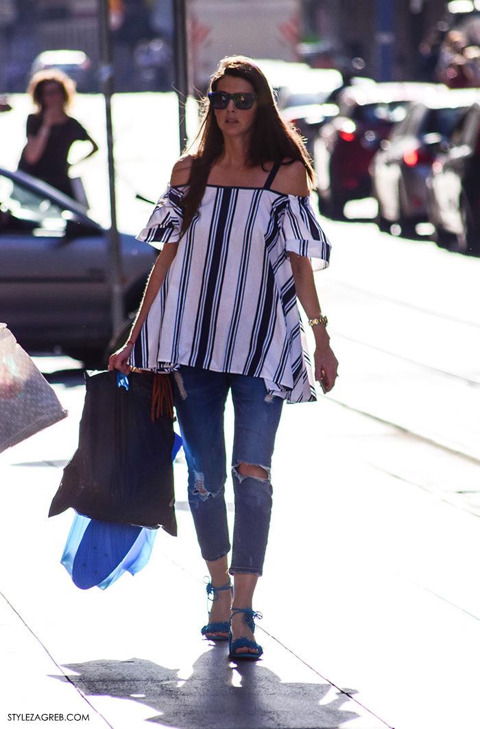 Nina Đačić, Nina Djacic Instagram, Ljeto ženska moda zagrebačka špica, street style Zagreb, kako nositi prugasti top golih ramena i podrapane traperice