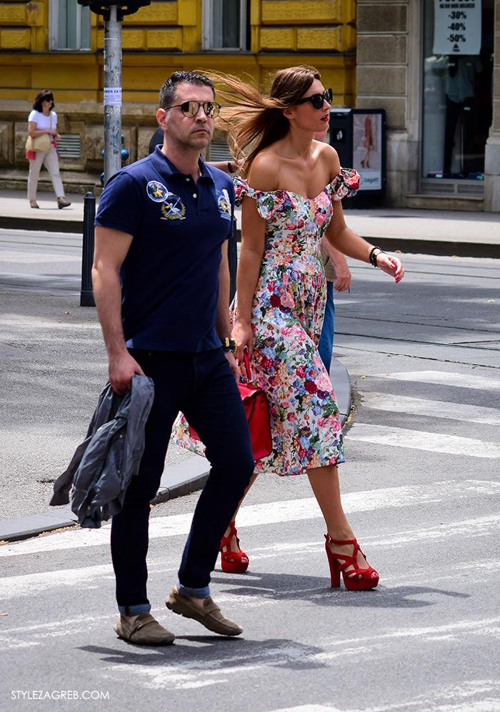 Cvjetasta haljina sa špice,street style Zagreb,zagrebačka špica ljetna ženska moda,zgodna žena u retro haljini, Hermes crvena trorba